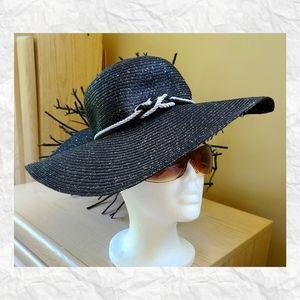 Nicole Marciano Black Wide Brim Floppy Beach Hat